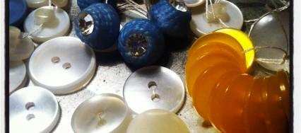blå vintage knapper